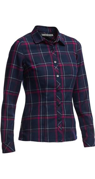 Icebreaker W's Laurel LS Shirt Plaid Admiral/Raspberry